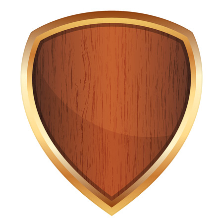 Vector illustration of wooden shield Vector