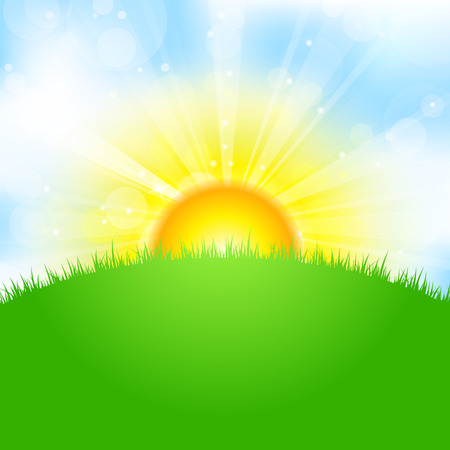 morning sunrise: Vector illustration of sun, sky and grass