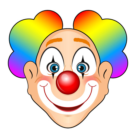 purim mask: illustration of smiling clown with colorful hair Illustration