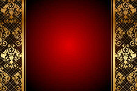 maroon: Vector red background with gold ornament
