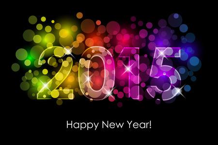 nieuwjaar: Vector Gelukkig Nieuwjaar - 2015 kleurrijke achtergrond