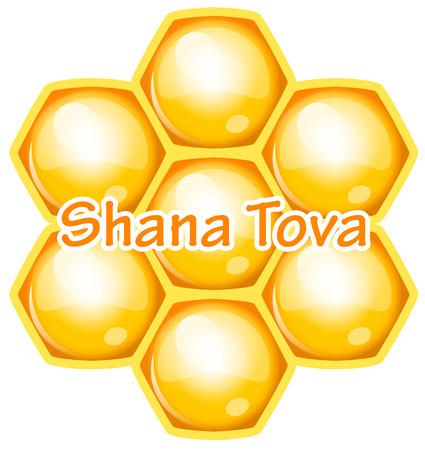 tova: Vector Shana Tova (Happy new year) icon wish with honeycomb