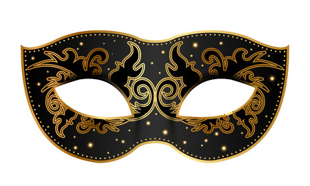 Vector illustration of black mask with gold decoration