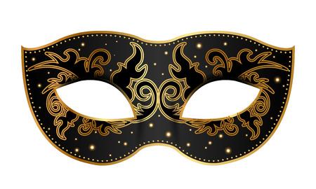 Vector illustration of black mask with gold decoration