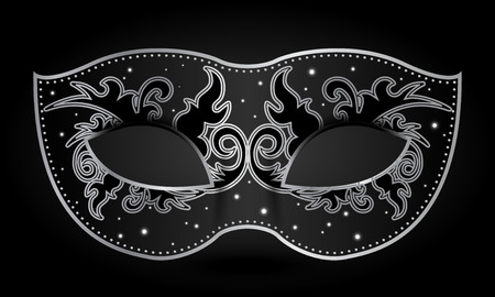 Vector illustration of black mask with silver decorations Vettoriali