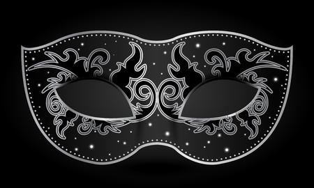 mascaras de carnaval: Ilustración del vector de la máscara de negro con adornos de plata Vectores