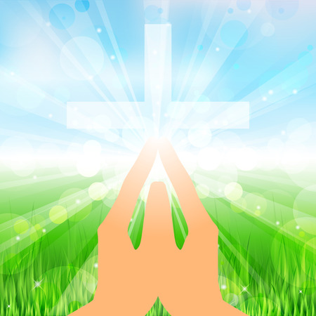 Vector illustration hands and cross Vector