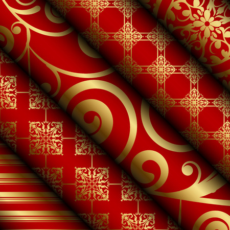 Vector illustration of red fabric  paper rolls with gold decorations Vector