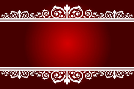 tapet: Vector red background with white decorated frame Illustration