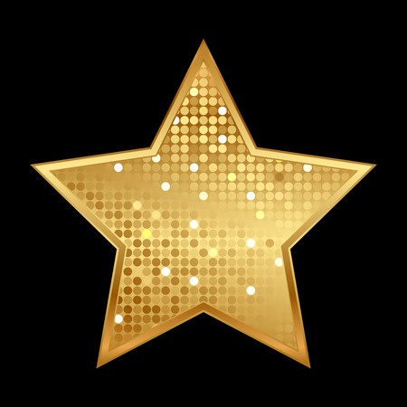 Vector illustration of gold shiny star