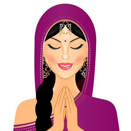 Vector illustration of Indian woman praying Illustration