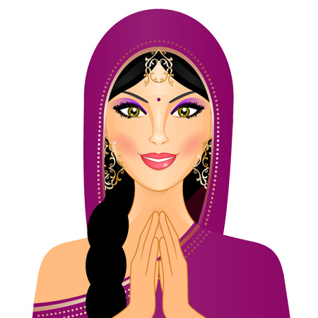 Vector illustration of Indian woman smiling Vector