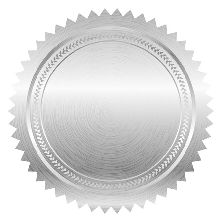 silver medal: Vector illustration of silver seal