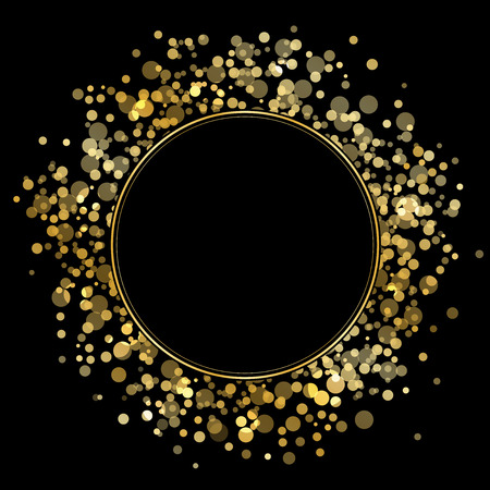 textured effect: Vector frame with gold sparkles