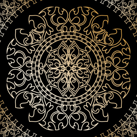 vector illustration of black background with gold ornament Vector