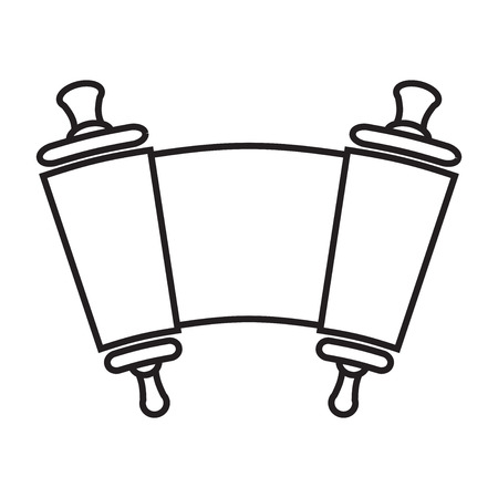 simchat torah: Vector silhouette, of Scroll of the Law