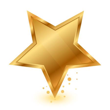 Vector illustratie van gouden glanzende ster Stock Illustratie