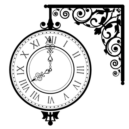 Vector illustration of vintage clock Vector