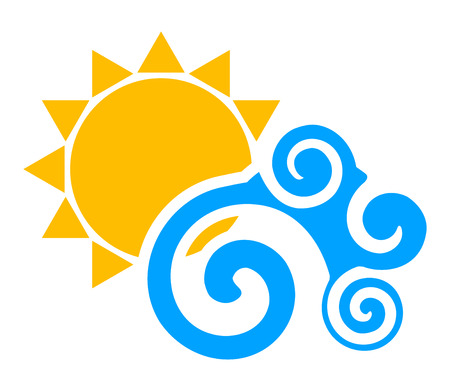 sun illustration: Vector illustration of sun an wave Illustration