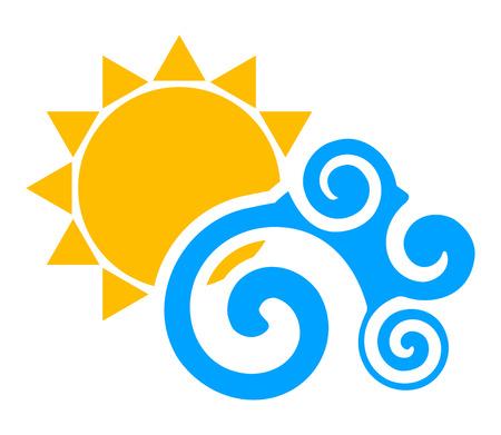 Vector illustration of sun an wave Illustration