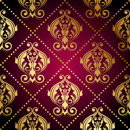 tapet: Vector maroon wallpaper with gold ornament