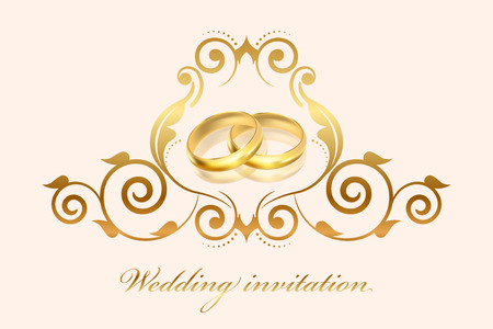 honeymoon couple: Vector floral frame with gold rings on cream background