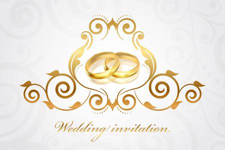 Vector wedding invitation with gold rings