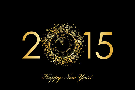 Vector 2015 Happy New Year background with gold clock Vettoriali
