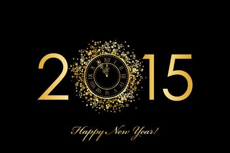 new day: Vector 2015 Felice anno nuovo sfondo con orologio d'oro