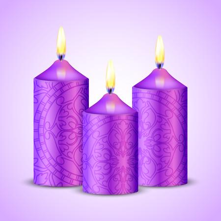 closeness: Vector illustration of purple candles Illustration
