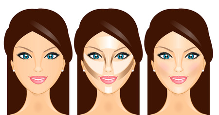 face make up: Vector illustration face before and after contouring Illustration