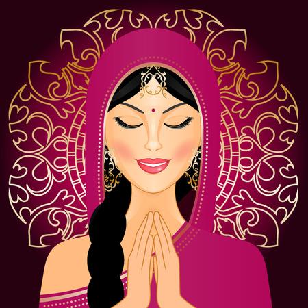 asian culture: Illustrazione vettoriale di donna indiana pregare Vettoriali