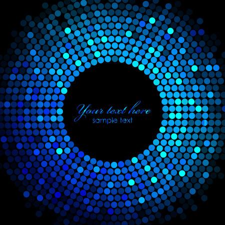 Vector blue disco lights frame