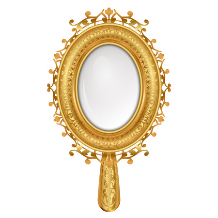 old hand: Vector illustration of vintage mirror