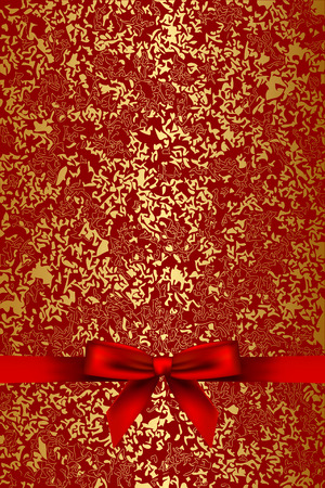 antique paper: Vector red and gold texture with red bow Illustration