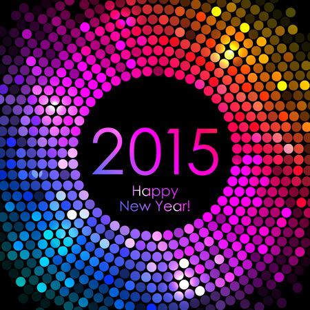 nouvel an: Vecteur - Happy New Year 2015 - lumi�res disco fond color� Illustration