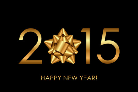 Vector 2015 Happy New Year background with gold bow Vector