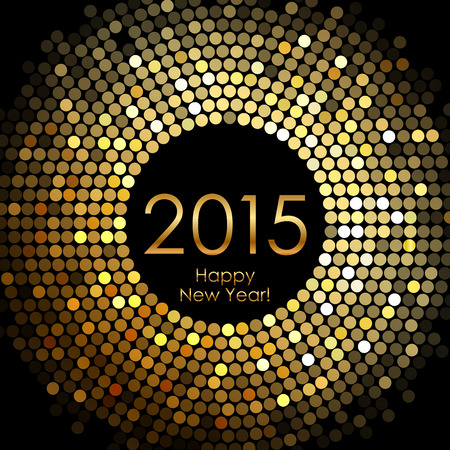 'new year': Vector - Happy New Year 2015 - gold disco lights frame