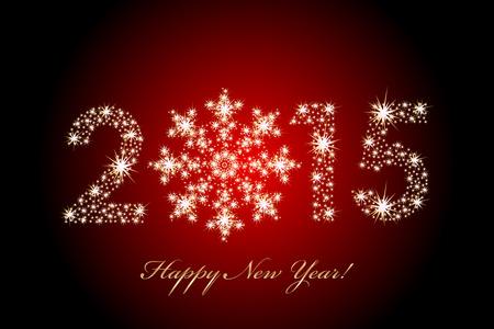 vermelho: Vector 2015 Feliz Ano Novo fundo magia Ilustração