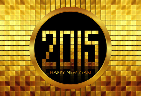 Vector - Happy New Year 2015 - golden mosaic background Vector
