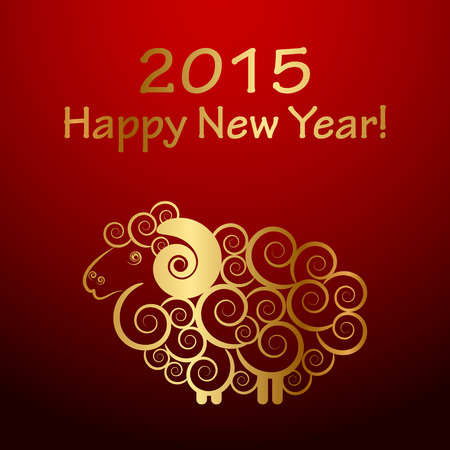 chinese new year card: Vector 2015 Happy New Year background with sheep (Year of sheep)
