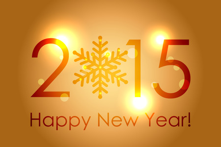 Vector - Happy New Year 2015 - gold glowing background Vector