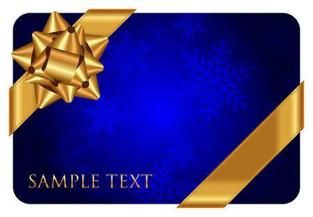 Vector blue background with snowflake pattern and gold bow