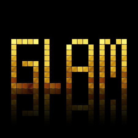 glam: Glam - vector illustration of shiny gold letters