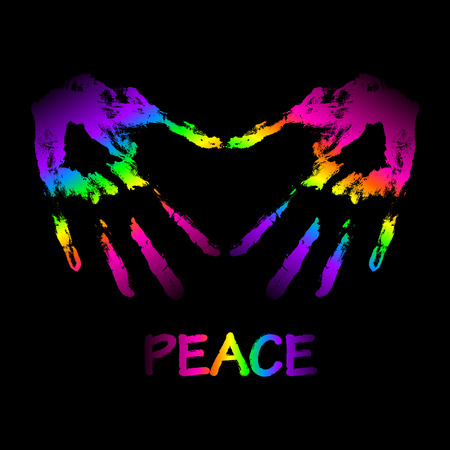 Vector peace and love graffiti illustration. Two hands make a heart shape