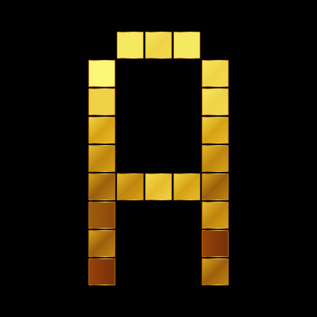 Vector illustration of shiny gold letter - A Vector