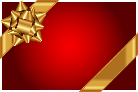 Vector red background with shiny gold bow