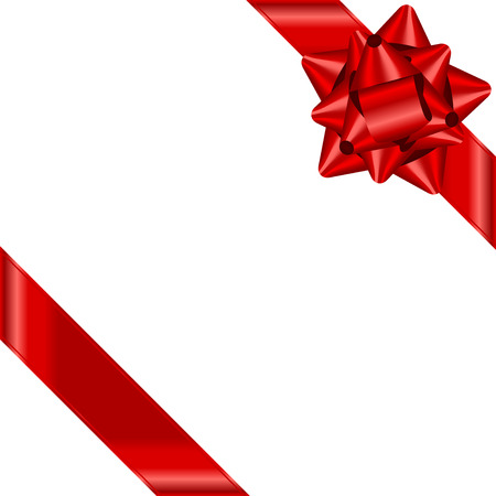 Vector red ribbon with bow