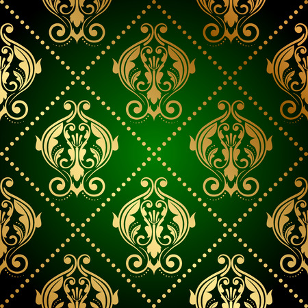 tapet: Vector green wallpaper with gold ornament Illustration