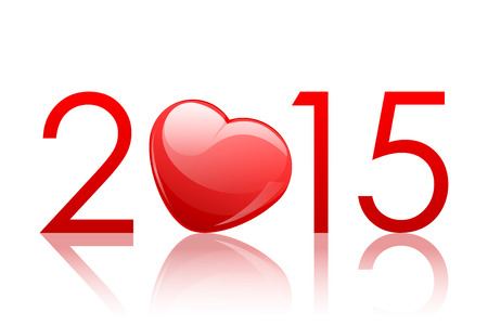Vector 2015 New Year background with heart Vector